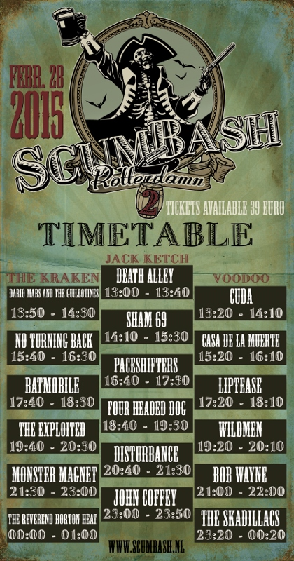 Scumbash timetable